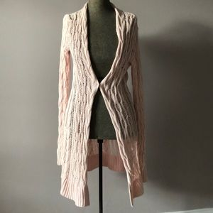 Free People light pink open knit duster cardigan